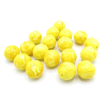 giant yellow textured circle beads -
