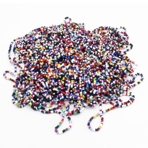 Small opaque matte seed bead strands