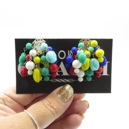 vintage clip on beaded earrings
